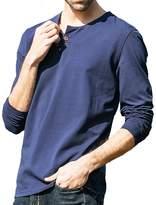 Tuoluzhe Men's Long Sleeve Henley Cotton Casual Slim Fit T-Shirt