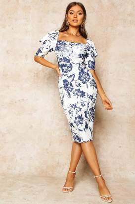 boohoo Floral Print Puff Sleeve Drape Detail Midi Dress
