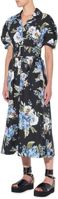 Erdem Frederick Carnation Floral Midi Shirtdress