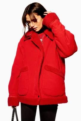 Topshop Womens Corduroy Zip Up Jacket - Red
