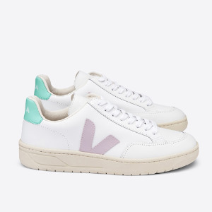Veja V 12 White Parme Turquoise Leather Trainer Shoes - 37