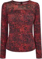 Karen Millen Leopard Print Jersey Top - Red/multi