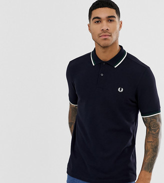 Fred Perry twin tipped logo polo shirt in navy Exclusive at ASOS