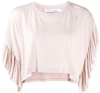IRO cropped ruffled T-shirt