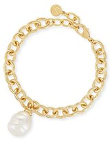 Majorica Golden Chain Bracelet with Baroque Pearl Charm