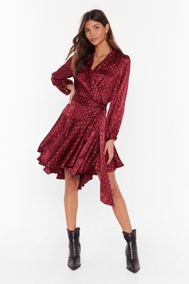 Nasty Gal Womens Dot All the Shine in the World Metallic Wrap Dress - Wine