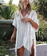 Maison Mascallier Women's Swimsuit Coverups White - White V-Neck Tassel-Tie Sidetail Cover-Up - Women