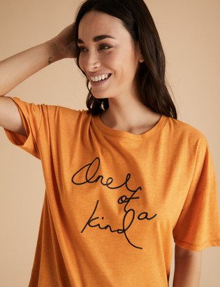 Marks and Spencer Cotton One of a Kind Slogan Pyjama Top