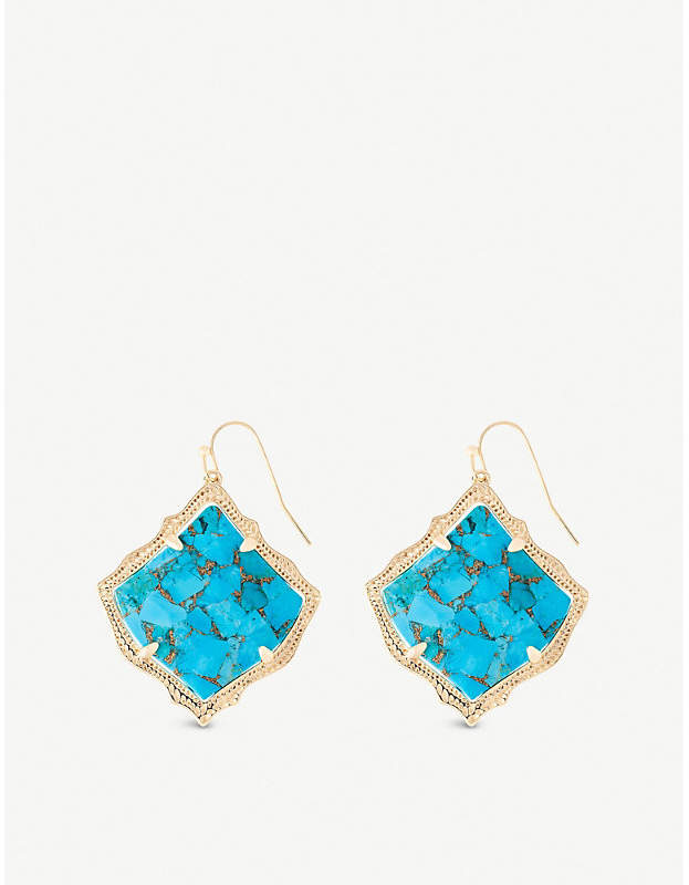 735ca71632366 Kirsten 14ct gold-plated and bronze veined turquoise magnesite stone drop  earrings