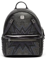 MCM Dual Stark Studded Leather Backpack - Black