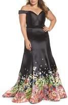 Mac Duggal Plus Size Women's Beaded Waist Off The Shoulder Gown