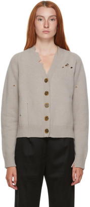 Maison Margiela Beige Wool Distressed Cardigan