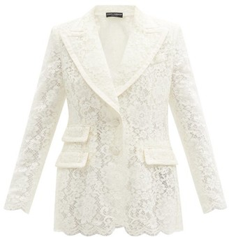 Dolce & Gabbana Single-breasted Cordonetto-lace Blazer - White