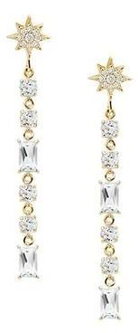 Anzie Aztec North Star Linear Baguette Earrings Gold
