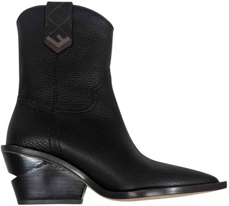 Fendi Cowboy Black Leather Ankle boots
