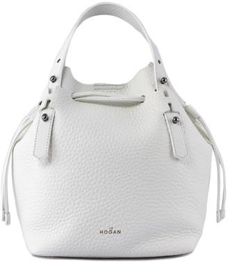Hogan Bucket Bag In White Leather