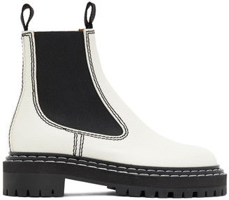 Proenza Schouler White Leather Chelsea Boots