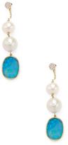 Meira T Pearl, Opal & Diamond Earrings