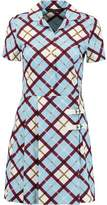 Marc by Marc Jacobs Wrap-Effect Checked Stretch Cotton-Poplin Mini Dress