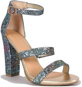 Bamboo Glitter Open toe Chunky Heel Three Straps Sandal Women's shoes size 9