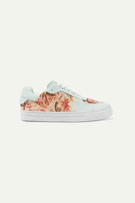 Zimmermann Leather-trimmed Printed Linen Sneakers - White
