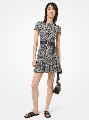 MICHAEL Michael Kors Floral Embroidered Flounce Dress