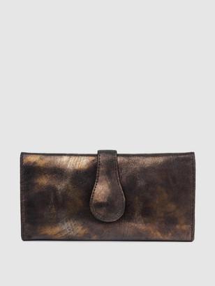 Cofi Mila Trifold Wallet: Black/Gold Metallic