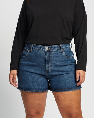 Cotton On Curve - Women's Blue Denim - Curve Mom High-Waisted Denim Shorts - Size 16 at The Iconic