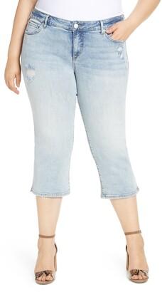 SLINK Jeans Distressed Crop Straight Leg Jeans