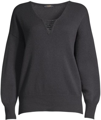 Peserico Chain Detail Wool-Blend V-Neck Sweater