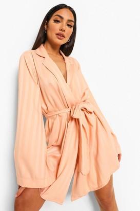 boohoo Jacquard Satin Stripe Kimono Robe