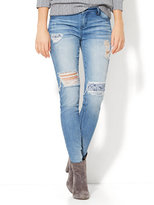 New York & Co. Soho Jeans - Lace Accent Destroyed Legging - Indigo Blue Wash