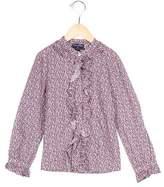 Oscar de la Renta Girls' Floral Print Long Sleeve Top