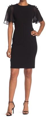 Calvin Klein Chiffon Short Sleeve Sheath Dress