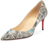 Christian Louboutin Decollete Paris Map 70mm Red Sole Pump, White/Black