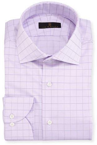 Ike Behar Gold Label Check Cotton Dress Shirt, Lavender