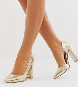 Walter Asos Design ASOS DESIGN Wide Fit d'orsay high heels in champagne croc-Gold