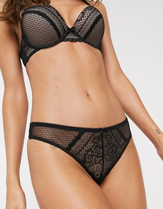 New Look mesh thong in spot print-Black