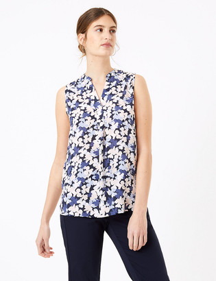 Marks and Spencer Floral V-Neck Sleeveless Shell Top