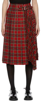 Noir Kei Ninomiya Red Tartan Pleated Skirt