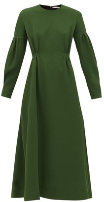 Emilia Wickstead Cerise Balloon-sleeve Pebbled-crepe Dress - Womens - Dark Green