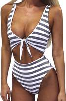 Haloon Women Zebra Stripe Tank Sleeve High Waisted Cutout One Piece Swimsuit