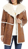 Elan ELAN Open Lapel Angle Front Faux-Shearling and Faux-Suede Jacket
