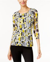 Alfani Printed Tiered Mesh Top, Only at Macy's