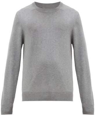 Maison Margiela Elbow Patch Crew Neck Cotton Blend Sweater - Mens - Grey