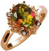Gem Stone King 2.32 Ct Oval Mango Mystic Topaz and Topaz Rose Gold Plated Sterling Silver Ring