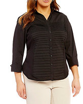 Investments Plus Button Front Pintuck Blouse