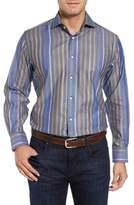 Thomas Dean Men's Regular Fit Stripe Sport Shirt
