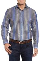 Thomas Dean Men's Stripe Sport Shirt