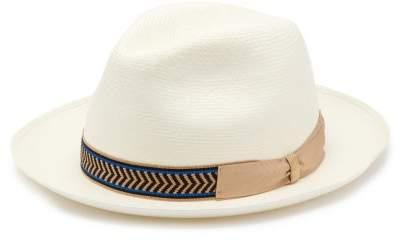 2cffd748814a8 Grosgrain Trim Straw Panama Hat - Mens - White
